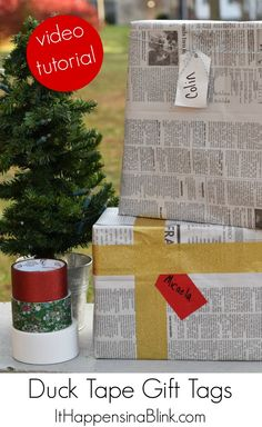 Duck Tape Gift Tags | ItHappensinaBlink.com | Use Duck Tape to create peel n stick or free hanging gift tags