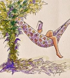 I found my reading spot. what are you reading? Source: A Purple Hammock and a Book! (Source By: Mia Thermopolis) I Love Books, Good Books, My Books, Reading Art, Woman Reading, Girl Reading Book, Reading Time, Reading Nooks, Illustrations