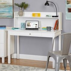 Update your home office with this functional desk with hutch. The desk features one open shelf for your books or decor and one drawer for organizing your office items. It can be paired with white filing cabinet that sold separately. Office Furniture Stores, Furniture Deals, Furniture Outlet, Online Furniture, Bedroom Furniture, Hall Furniture, Urban Furniture, Furniture Design, Desk Hutch