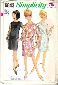 Hey, I found this really awesome Etsy listing at https://www.etsy.com/listing/186107250/vintage-1966-simplicity-6843-slim-dress