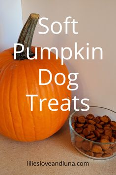 Easy to make 3 ingredient dog treats. These peanut butter and pumpkin dog treats are great for dog training. Canned Pumpkin, Pumpkin Puree, Pumpkin Carving, 3 Ingredient Dog Treats, Soft Dog Treats, Peanut Butter Dog Treats, Pumpkin Dog Treats, Dog Treat Recipes, 3 Ingredients