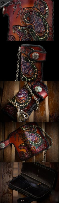 Handmade leather biker trucker wallet leather chain men Snake Brown Carved Tooled wallet