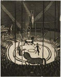 """Die Radierung """"Im Zirkus"""" (Aquatinta) entstand 1958, das gleichnamige Ölgemälde malte Hans Körnig 1960."""