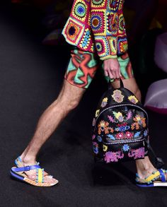 Pin for Later: Umbrella Hats, Cindy Crawford's Son, and More Things You Need to See From Moschino's Resort '17 Show Models Toted Embellished Backpacks