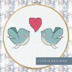 Blue Birds Heart Cross Stitch Pattern PDF