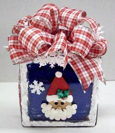 Santa Block designed by Karen S., A.C. Moore Erie, PA #glassblock #christmas