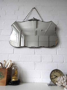 Vintage Bevelled Edge Wall Mirror Art Deco Frameless by uulipolli $313.68