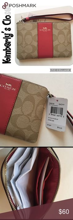 "✨COACH✨ Signature Corner Zip Wristlet COACH Signature coated canvas - light khaki/strawberry color.  Inside multifunction pocket and 2 credit card pockets.  Silver-tone zip closure, pink fabric lining.  Wrist strap attached.  6"" (L) x 4"" (H).  Brand new with tags. Coach Bags Clutches & Wristlets"
