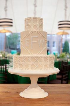 Cream cake with a geometric pattern & monogram #wedding