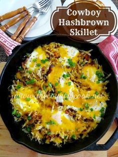 The Country Cook: Cowboy Hash Brown Skillet || Made on 5/14/16, and it was yummy!! An easy breakfast, and a great way to use leftover or frozen veggies. Will make agin. Could be good camping food!