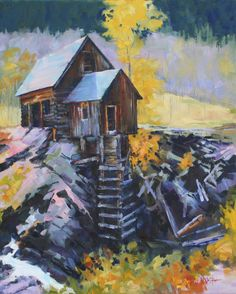original oil painting of Crystal Mill Colorado Rocky Mountains16x20 on canvas Fine Art  gary white artist