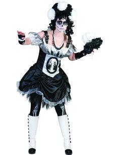 Disfraz Halloween esqueleto chic mujer: Este disfraz de esqueleto elegante para mujer incluye vestido y velo (corona de flores, mitones, ramo, medias, collares y zapatos no incluidos). El vestido está hecho de telas satinadas...