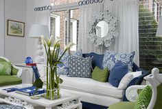 Love the combo of cobalt blue, lime green and white
