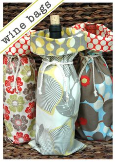 Wine Bag  Hostess Gift  Beautiful Fabrics Buy More by stitchery33, $9.50