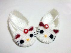 Crochet Baby Girl  Kitty Slippers house shoes by myknittingworld,