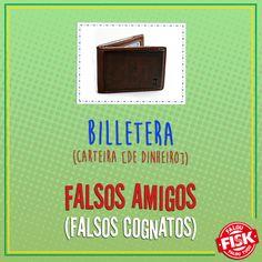 """#FalsoAmigo: Não se engane! Billetera, em espanhol, significa """"carteira""""! Caso queira se referir a uma bilheteria, utilize """"taquilla"""" #DicaFisk"""