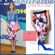 Olivia Palermo in denim shirt with floral print midi skirt and blue pumps #oliviaPalermo #fashion #style #chic #floral #spring #summer #denim #blue #suede #milly #khols #newyork #outfit #party #cockail #city #cocktail