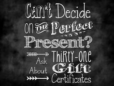 Gift certificate in any amount www.mythirtyone.com/apeterson86 mrspeterson16@yahoo.com