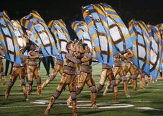 Canton Bluecoats Drum & Bugle Corps performs at the Drum Corps International Competition in 2010.