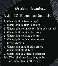 Personal Branding Commandments