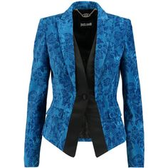 Just Cavalli Satin-trimmed printed velvet jacket (€343) ❤ liked on Polyvore featuring outerwear, jackets, blue velvet jacket, blue jackets and velvet jacket
