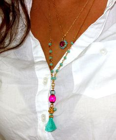 Tassel Necklace, Y Necklace, Boho Jewelry Tassel Necklace, Hot Pink & Turquoise necklace, Layering Necklace, Turquoise Rosary  Necklace. by inbalmishan on Etsy https://www.etsy.com/listing/205373002/tassel-necklace-y-necklace-boho-jewelry