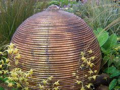 Intriguing copper sculpture water feature.