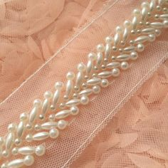 Ivory Beaded Lace Trim Pearl Beaded Trim 1 Yard For by Lacebeauty Ivory Beaded Lace Trim Pearl Beaded Trim 1 Yard For Costume Wedding Dress Belt Brial Sash Jewelry Design Width Of beaded part: Pearl Embroidery, Bead Embroidery Patterns, Couture Embroidery, Hand Embroidery Designs, Embroidery Dress, Embroidery Stitches, Beaded Trim, Beaded Lace, Lace Trim
