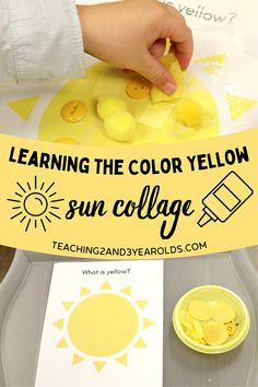 Learning the color yellow is fun with this collage activity. Download the free printable, sort small pieces, and glue the yellow ones onto the sun! #art #summer #colors #yellow #collage #printable #toddler #preschool #AGE2 #AGE3 #AGE4 #teaching2and3yearolds Preschool Color Activities, Preschool Lesson Plans, Hands On Activities, Toddler Preschool, Summer Activities, Time Planner, Yellow Sun, Writing Numbers, Learning Colors