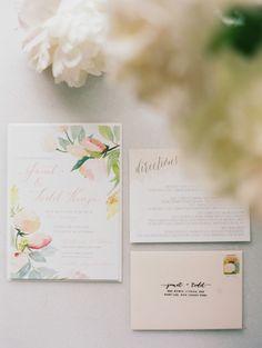 Floral wedding invitations: http://www.stylemepretty.com/2014/11/04/romantic-spring-hudson-valley-wedding/ | Photography: Ashley Kelemen - http://ashleykelemen.com/