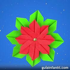 Flor de Pascua para Navidad en origami.