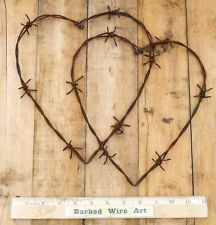 Double Hearts ~  Folk Farm Wall Decor Valentine Horse Rooster Barbed Wire Art  #choosetobemoreloving  @Marisa McClellan McClellan McClellan Pennington Foster