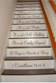 1 Corinthians - Love is Patient, Love is Kind, Marriage Saying Stair Riser Decal