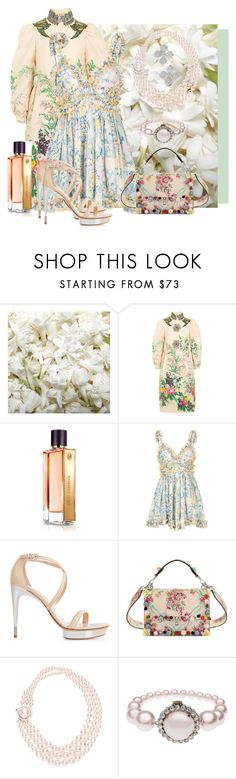 """""""Privet Bloom"""" by oooooh ❤ liked on Polyvore featuring OneSelf, Gucci, Guerlain, Alice McCall, La Perla and Fendi"""