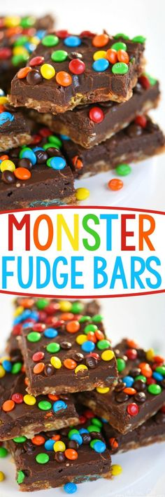 No one can resist these EASY Monster Fudge Bars! Oatmeal chocolate chip cookie bars topped with easy fudge and mini M&M's! This is one decadent treat! // Mom On Timeout