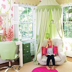 Clever Canopy Accent a comfy reading chair with a hanging canopy that creates a cozy hideaway. (Southern Living)