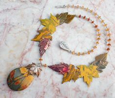 Fall Leaves Necklace with Creek Jasper and Hessonite Garnets
