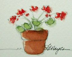This is an original miniature watercolor painting of a terra cotta flower pot of red geraniums. The size is 1 ½ x 2 inches, and it is matted in a white bevel-cut 4x5 mat which will fit easily into any standard 4x5 frame. It could also be rematted to fit into a larger frame. The painting and mat will be wrapped in clear mylar with an acid-free foamboard backing piece, so it will be ready to pop into any ready-made frame. It will be packaged in such a way that it can easily be given as a gift…