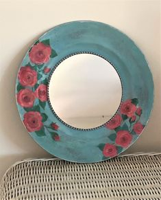 Decorative Shabby chic accent wall mirror, hand painted turquoise blue bohemian gypsy round pretty mirror, up cycled and re cyled home decor Shabby Chic Table Lamps, Shabby Chic Wall Decor, Cottage Mirrors, Ethnic Decor, Nautical Gifts, Mirror Painting, Egg Art, Vintage Plates, Pink Abstract