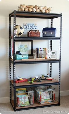 Industrial shelf for boys' room - they sell these in Bunnings.