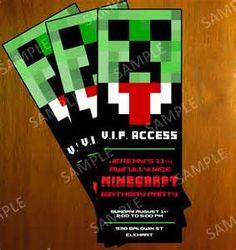 Birthday Party Invitation V2 Minecraft Ticket Invitation Diy Printable