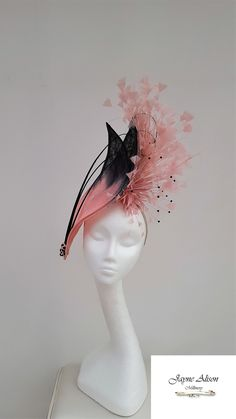 Striking Black Fascinator, Headpiece, Fascinator,Mother of the Bride by JayneAlisonMillinery on Etsy Black Fascinator, Fascinator Hats, Fascinators, Headpieces, Melbourne Cup, Black Ombre, Pink Black, Ombre Paint, Royal Ascot Hats