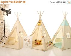 MOTHER DAY SALE Kids nursery teepee cotton house. Wood kids bed house. Children bed house .Play wood house.Play wooden house bed.Kids teepee