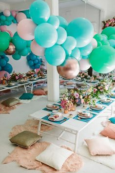 whimsical party inspiration - photo by Beck Rocchi http://ruffledblog.com/balloon-filled-party-inspiration-at-a-pandora-brunch