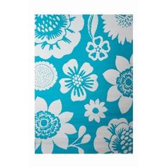 Garden Treasures Rectangular Aqua Floral Indoor/Outdoor Area Rug (Common: 5-ft x 7-ft; Actual: 5-ft 3-in x 7-ft 7-in)
