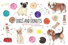 Watercolor Clip Art - Dogs n Donuts by Maria B. Paints on Creative Market