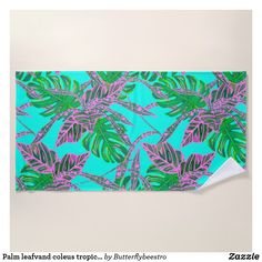 Shop Palm leaf and coleus tropical ice beach towel created by Butterflybeestro. Custom Beach Towels, Tropical Design, Pool Days, Chicken Enchiladas, Fire And Ice, Coral Pink, Beach Day, Print Design, Palm