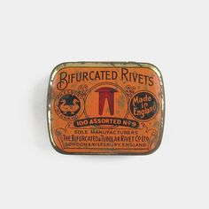 Early Aylesbury Bifurcated Rivets Tin - London bright orange red black industrial old vintage English made in England British