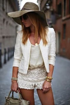 All White Outfit Idea with Golden Accessories