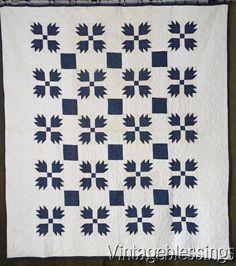 ON SALE Gorgeous! Never Washed Indigo Blue & White Bear Paw QUILTc1880 Antique www.Vintageblessings.com